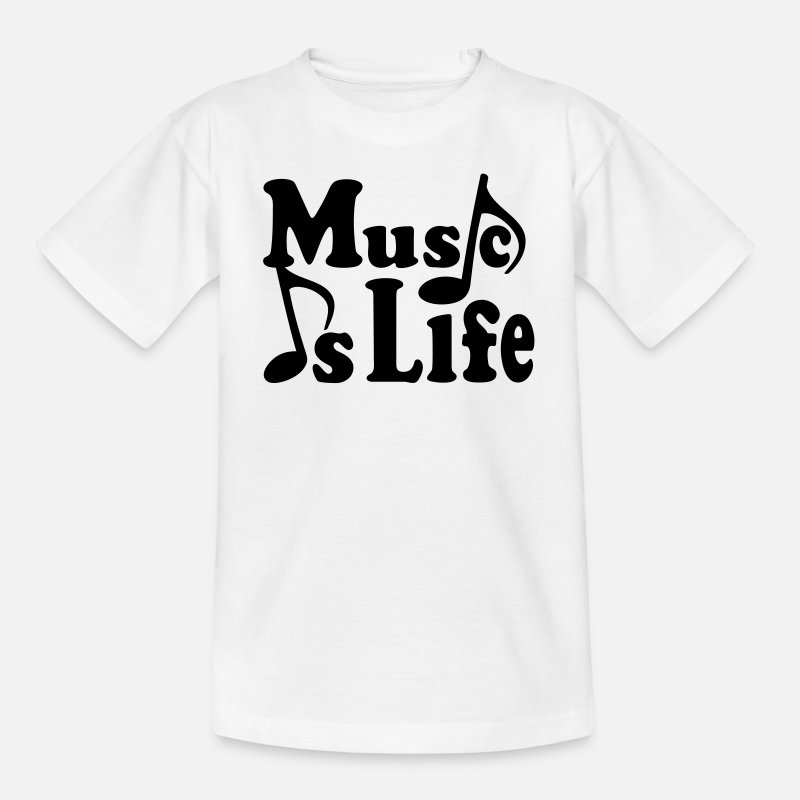 Note T-Shirts - Music is Life  - Kids' T-Shirt white
