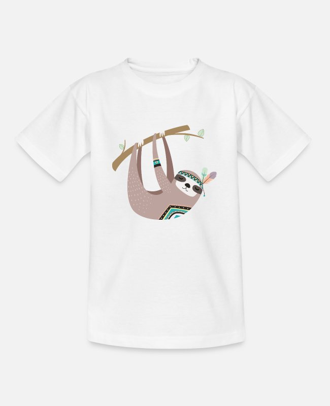 Tiere T-Shirts - tribal Faultier - Kinder T-Shirt Weiß