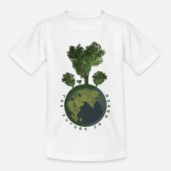 Enviromental T-Shirts - The Future is Green - Fridays for Future - Kids' T-Shirt white