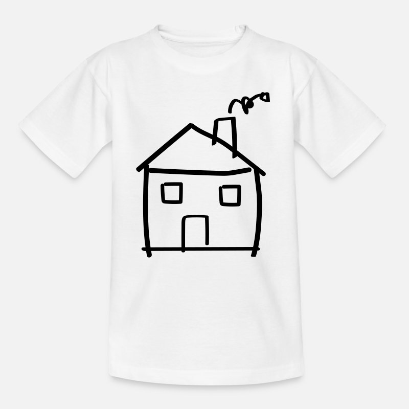Home T-Shirts - House drawing - Kids' T-Shirt white