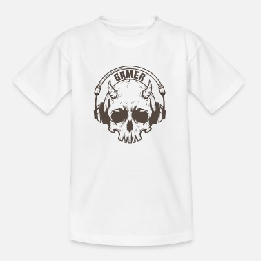 Online Gamer skull with horns and headset - Kids' T-Shirt