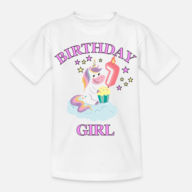 Gift T-Shirts - 7th Birthday Girl - Kinderen T-shirt wit