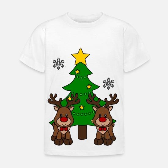 d52a404104fba4 Rendier T-Shirts - Kerst rendieren met kerstboom - Kinderen T-shirt wit