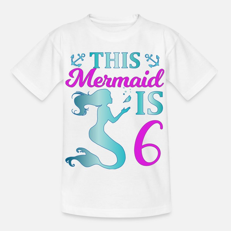 6 Year Old T-Shirts - This Mermaid is 6 - Kids' T-Shirt white