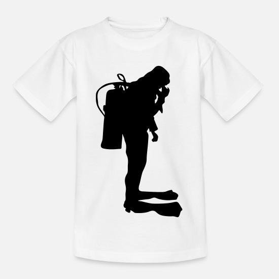 Tief T-Shirts - Diving Silhouette Taucher - Kinder T-Shirt Weiß