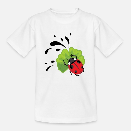 Smudge T-Shirts - Ladybug on ginkgo biloba leaf - Kids' T-Shirt white