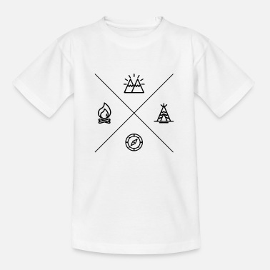 Camp-fire Camping and camping with camp fire and compass - Kids' T-Shirt