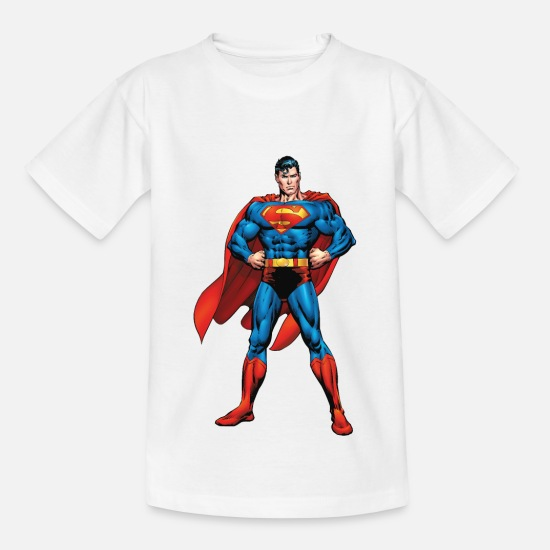 Bestseller Q4 2018 T-Shirts - Superman Classic Pose Teenager Langarmshirt - Kinder T-Shirt Weiß