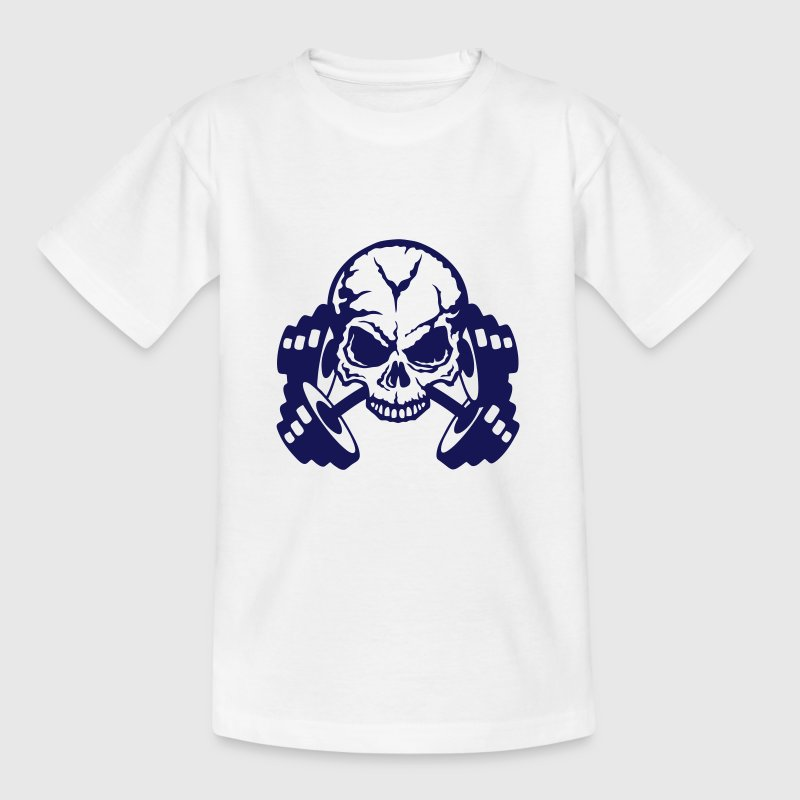 skull bodybuilding dumbbell - Kids' T-Shirt