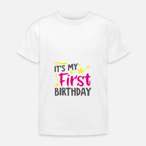 7b25313e25034 T-shirt bébé 1er cadeau d anniversaire T-shirt Enfant   Spreadshirt