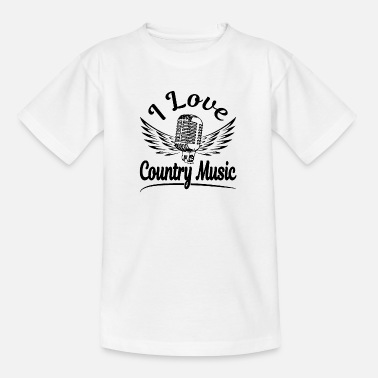 Flying Microphone I love Country Music black - Kids' T-Shirt