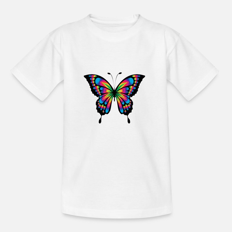 Fliegen T-Shirts - Bunter Schmetterling - Kinder T-Shirt Weiß