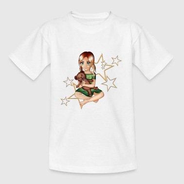 Girl with teddy gift idea - Kids' T-Shirt