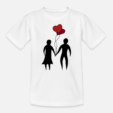 Couple at the wedding with balloons as a heart - Kids' T-Shirt
