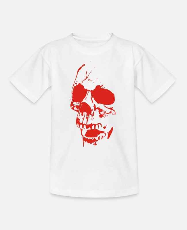 Outlaw T-Shirts - Bloody Skull Outlaw Streetwear - Kinder T-Shirt Weiß