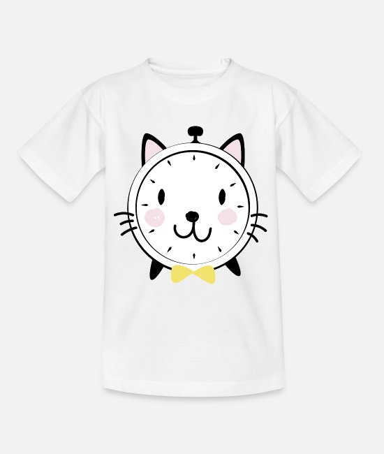 Alarm Clock T-Shirts - Alarm clock cat pet - Kids' T-Shirt white