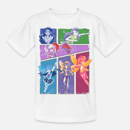 Superhelden T-Shirts - DC Super Hero Girls Superheldinnen Collage - Kinder T-Shirt Weiß