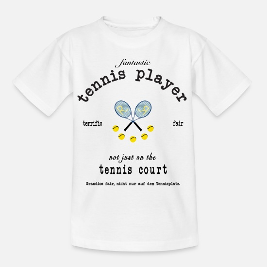 Tennis Player T-Shirts - Tennis fair play in English and German - Kids' T-Shirt white