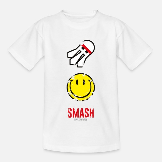 Smiley T-Shirts - SmileyWorld SMASH that shuttlecock - Kids' T-Shirt white