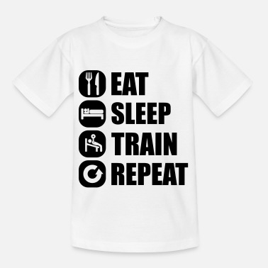 Fitness eat_sleep_train_repeat_16_1f - Kids' T-Shirt