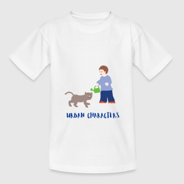 Urban Characters: Boy and Cat - Kids' T-Shirt