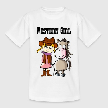Western Girl with Pony Ranch Western Riding - Kids' T-Shirt
