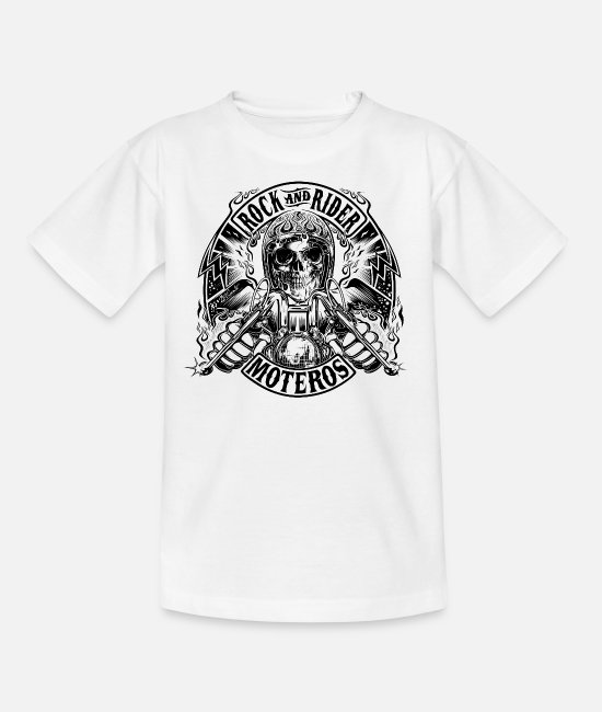 Rock Camisetas - Rock And Rider Moteros Skull BW - Camiseta niño blanco