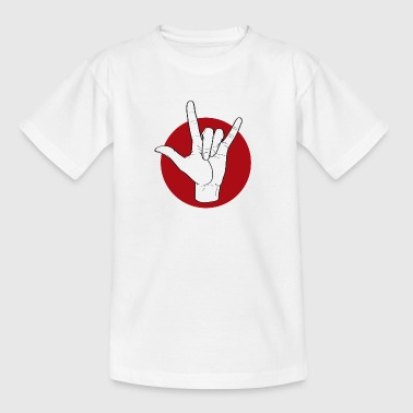 Fingeralphabet ILY white / red - Kinder T-Shirt