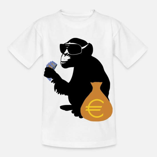 Politics T-Shirts - Euro monkey - Kids' T-Shirt white