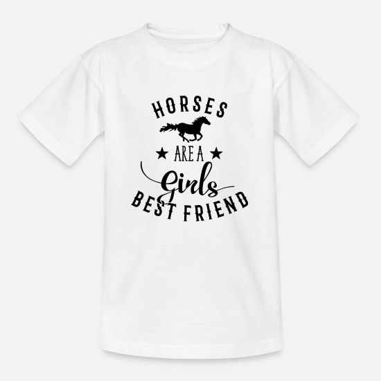 Reitschule T-Shirts - Horses Are A Girls Best Friend - Kinder T-Shirt Weiß