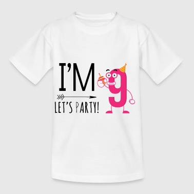 Jag är Nine.Let's Party! 9th Birthday Gifts.Kids Party - T-shirt barn