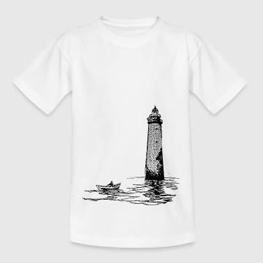 Lighthouse with rowing boat - Kids' T-Shirt