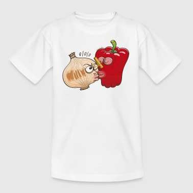 Smelly onion and cautious bell pepper kissing - Kids' T-Shirt