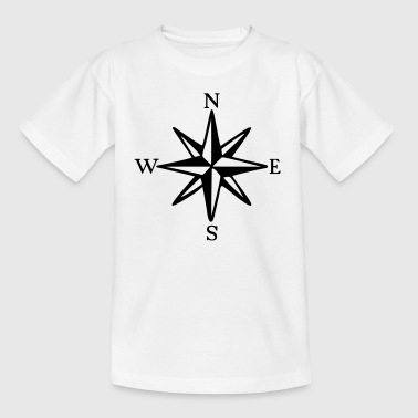 Compass Rose with Cardinal Points (monochrome) - Kids' T-Shirt