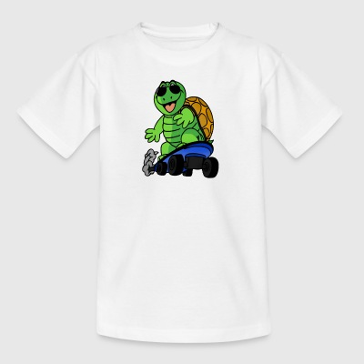 Turtle on a skateboard with sunglasses - Kids' T-Shirt