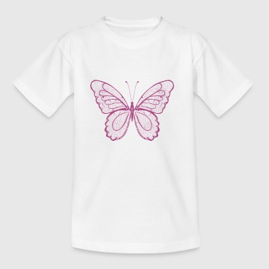 Butterfly in pink, hand drawn - Kids' T-Shirt