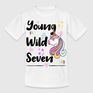 Young Wild Seven Unicorn Pop Art Design - Kinder T-Shirt