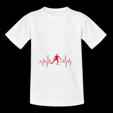 Biathlon skiing winter sports heartbeat gift - Kids' T-Shirt