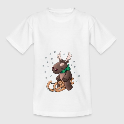 Kuschelelch with sledge - Kids' T-Shirt