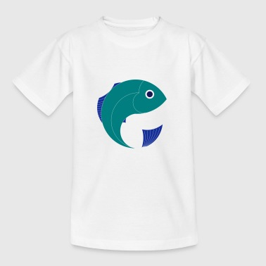 Fish, cartoon, graphic, Navy, Sea - Kids' T-Shirt