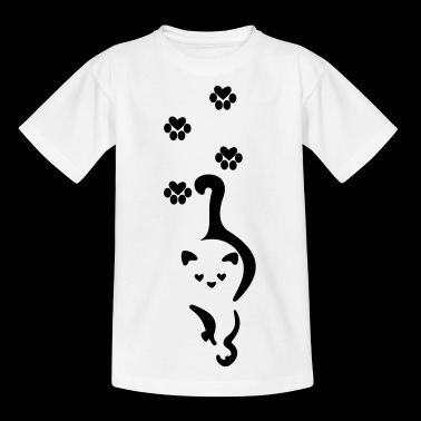 Cat with paw prints - Kids' T-Shirt