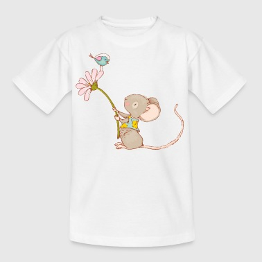 Mouse with flower and bird - Kids' T-Shirt