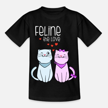 Oversize-t-shirt feline the love valentines cat couple frauen overs - Kinder T-Shirt