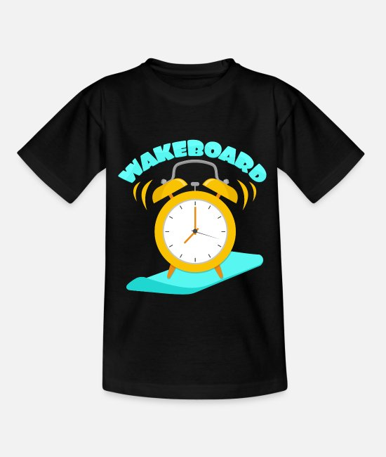 Birthday T-Shirts - Wakeboard alarm clock wakeboarding - Kids' T-Shirt black
