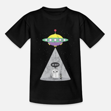 Comic UFO Gift Ghost Ghost Alien Cat Ghost - Kids' T-Shirt