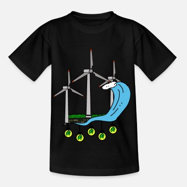 Wind Turbine Green energy for nature friends & our children - Kids' T-Shirt