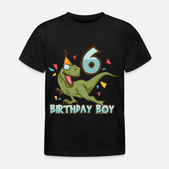 Birthday Boy 6 Years Old Child Dino Kids T Shirt