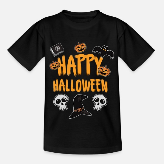 Party T-Shirts - Fröhliches Halloween - Kinder T-Shirt Schwarz