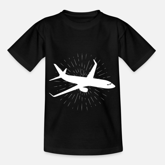 Wheel T-Shirts - Airplane silhouette art gift design - Kids' T-Shirt black