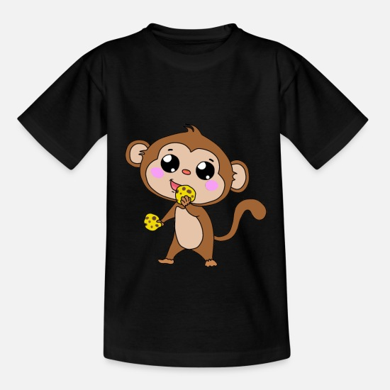 Monkeys T-Shirts - Monkey monkey with biscuit animals children baby - Kids' T-Shirt black